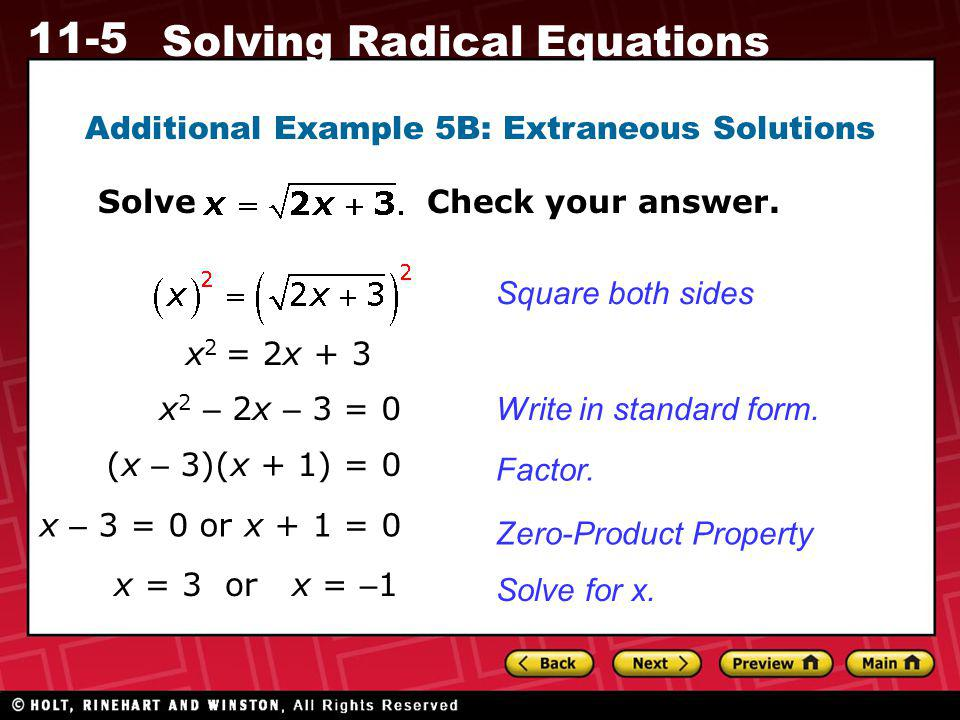 Additional Example 5B: Extraneous Solutions