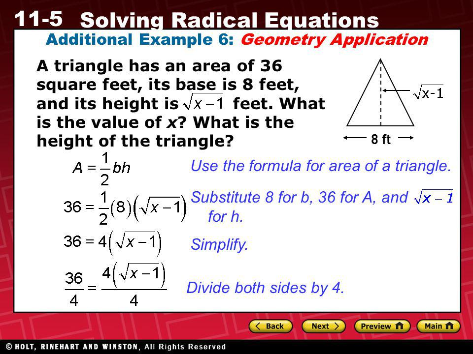 Additional Example 6: Geometry Application