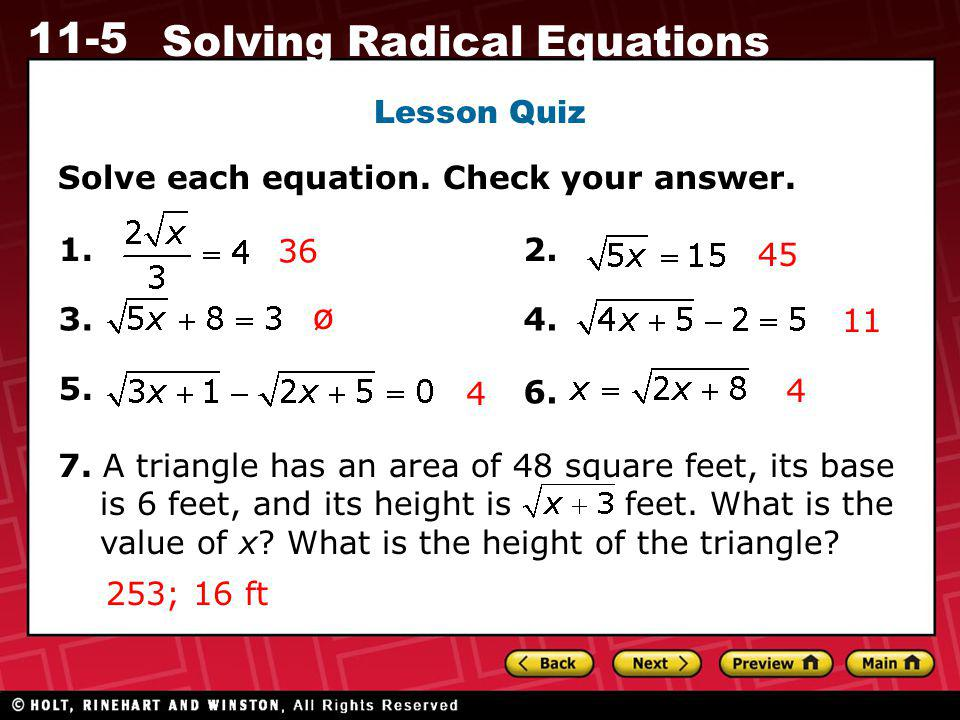 ø Lesson Quiz Solve each equation. Check your answer. 1. 36 2. 45 3.
