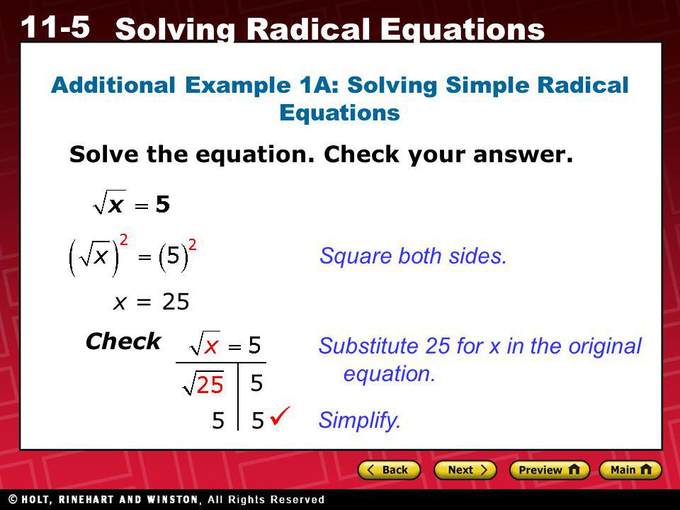 Additional Example 1A: Solving Simple Radical Equations