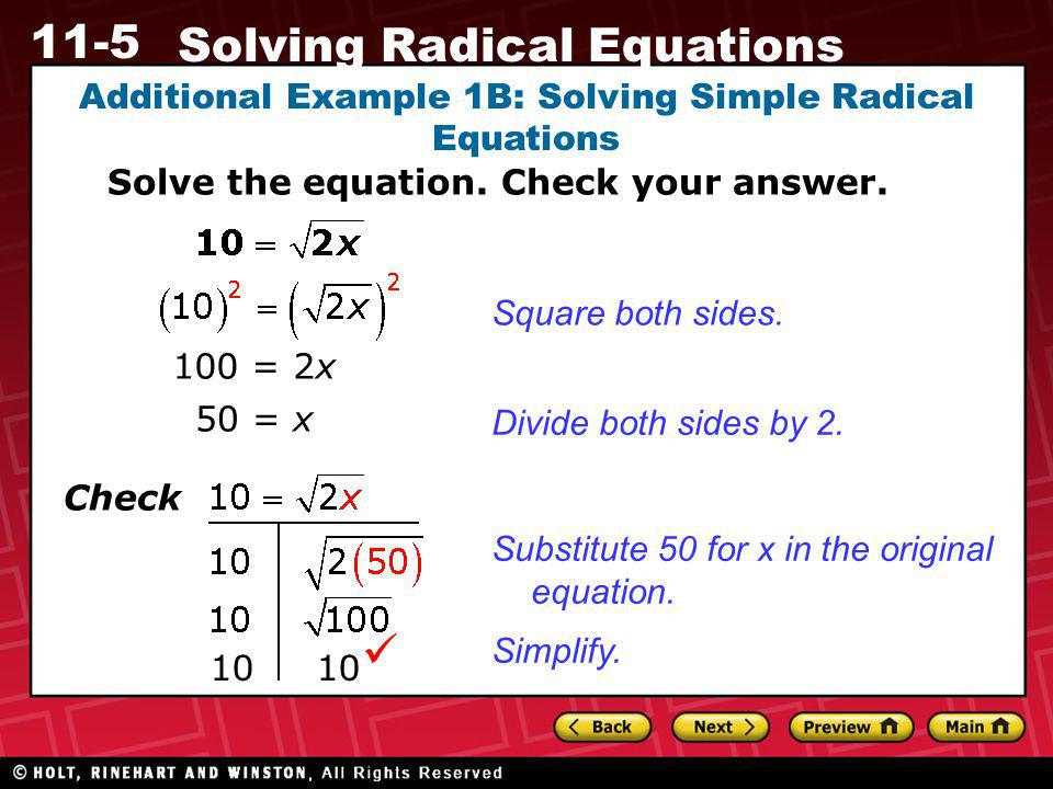 Additional Example 1B: Solving Simple Radical Equations