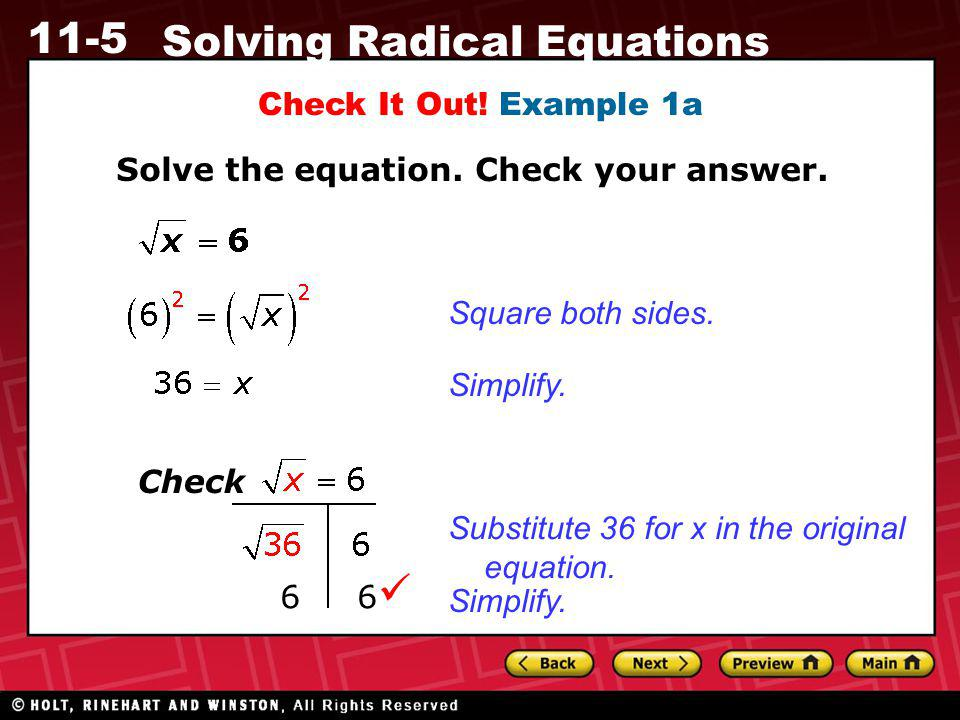  Check It Out! Example 1a Solve the equation. Check your answer.