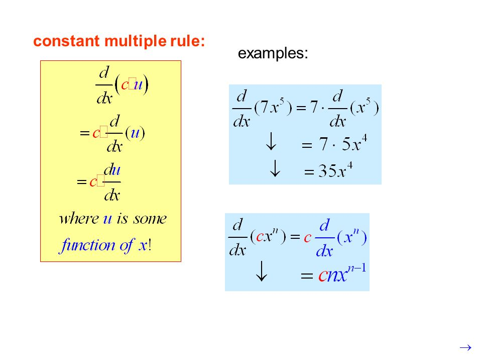 constant multiple rule:
