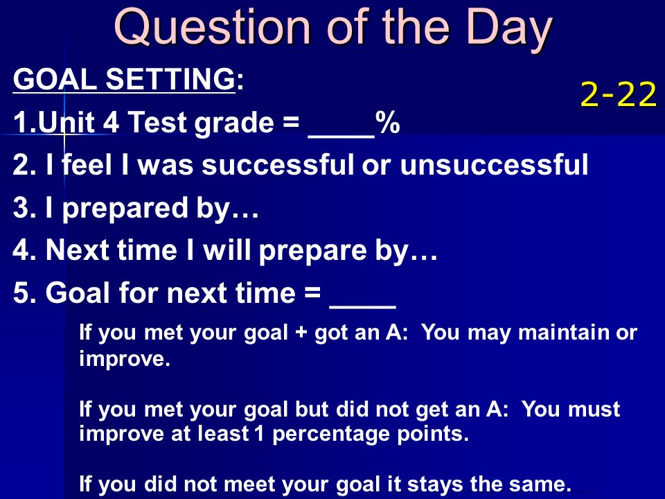 Question of the Day GOAL SETTING: Unit 4 Test grade = ____% I feel I was successful or unsuccessful.