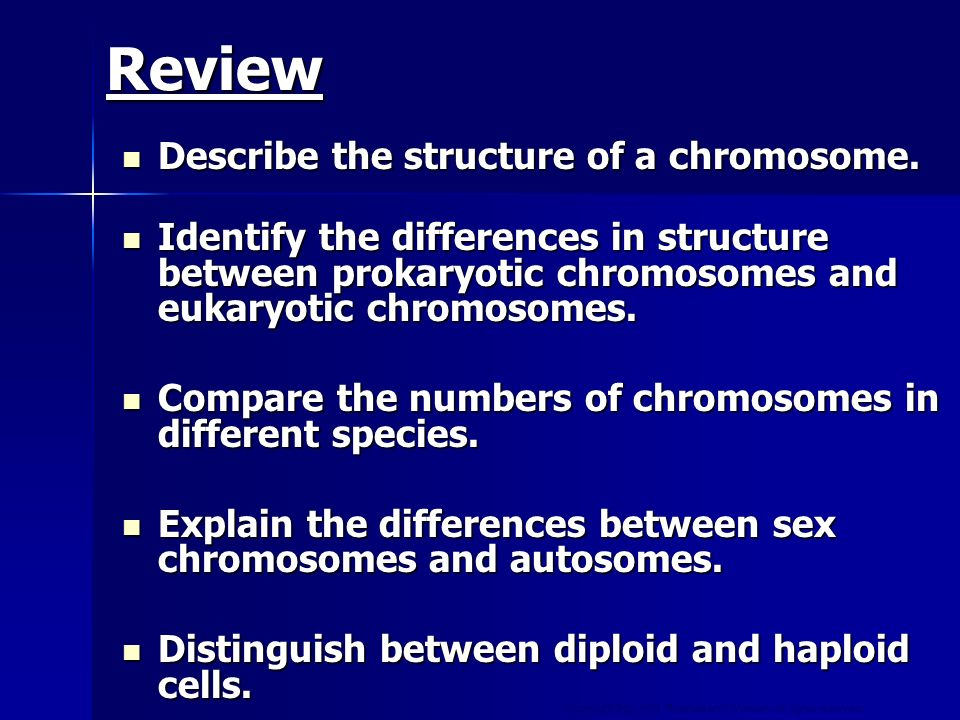 Review Describe the structure of a chromosome.