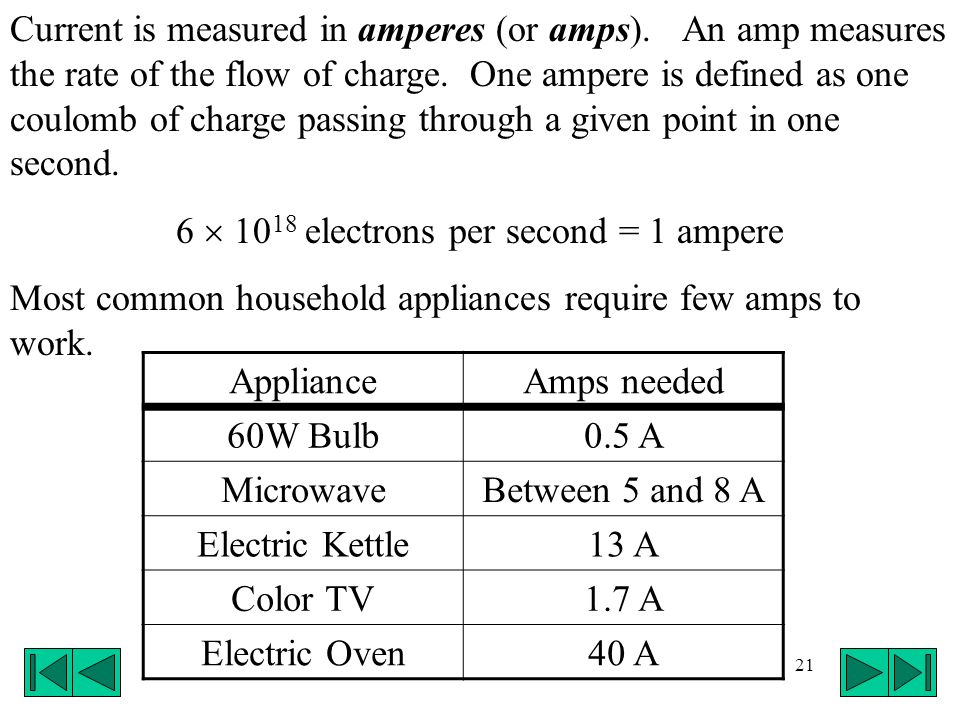 6  1018 electrons per second = 1 ampere