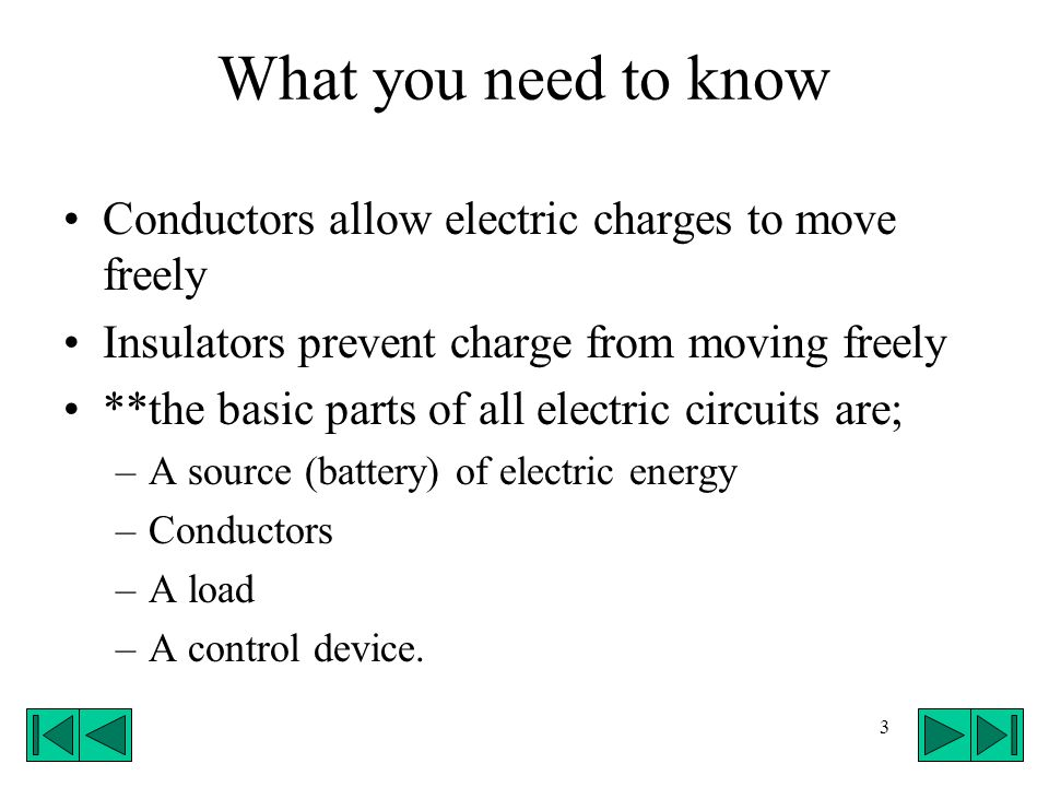 What you need to know Conductors allow electric charges to move freely