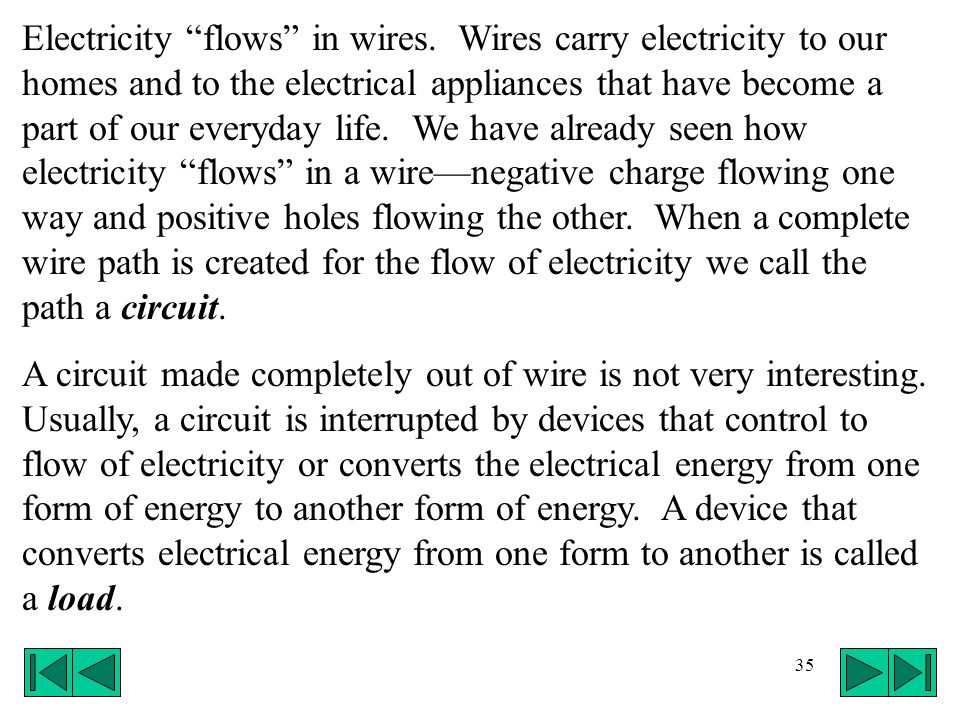Electricity flows in wires