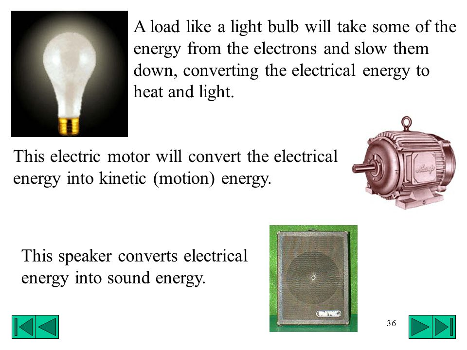 A load like a light bulb will take some of the energy from the electrons and slow them down, converting the electrical energy to heat and light.