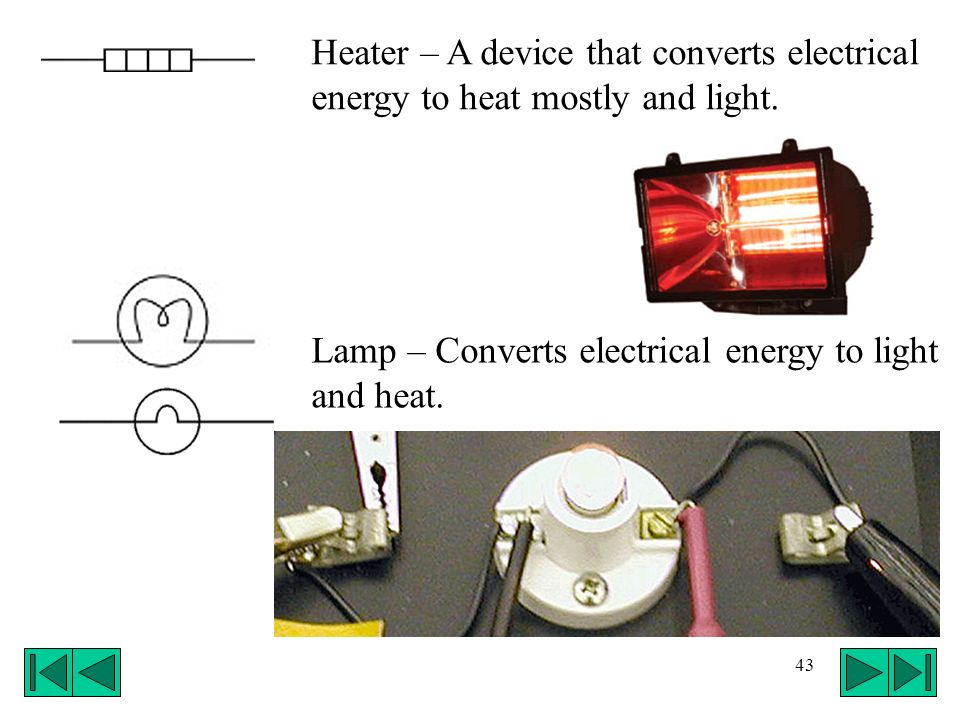 Heater – A device that converts electrical energy to heat mostly and light.
