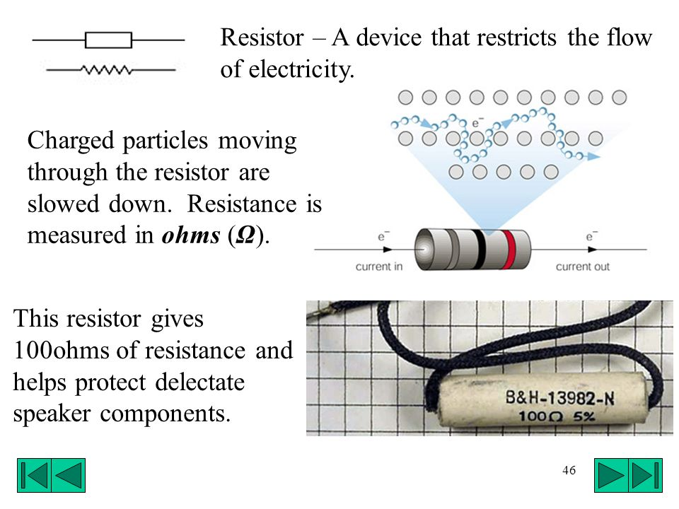 Resistor – A device that restricts the flow of electricity.