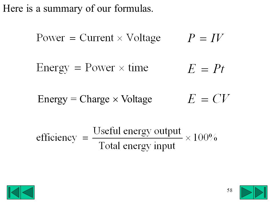 Here is a summary of our formulas.