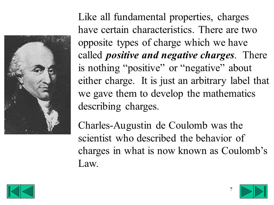 Like all fundamental properties, charges have certain characteristics