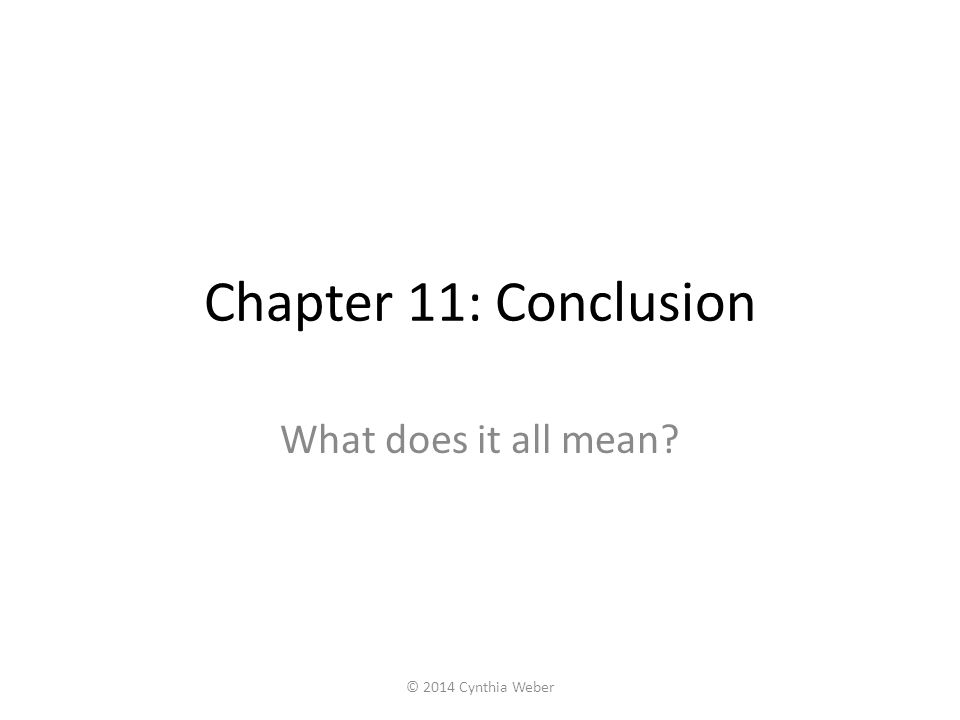 Chapter 11: Conclusion What does it all mean © 2014 Cynthia Weber