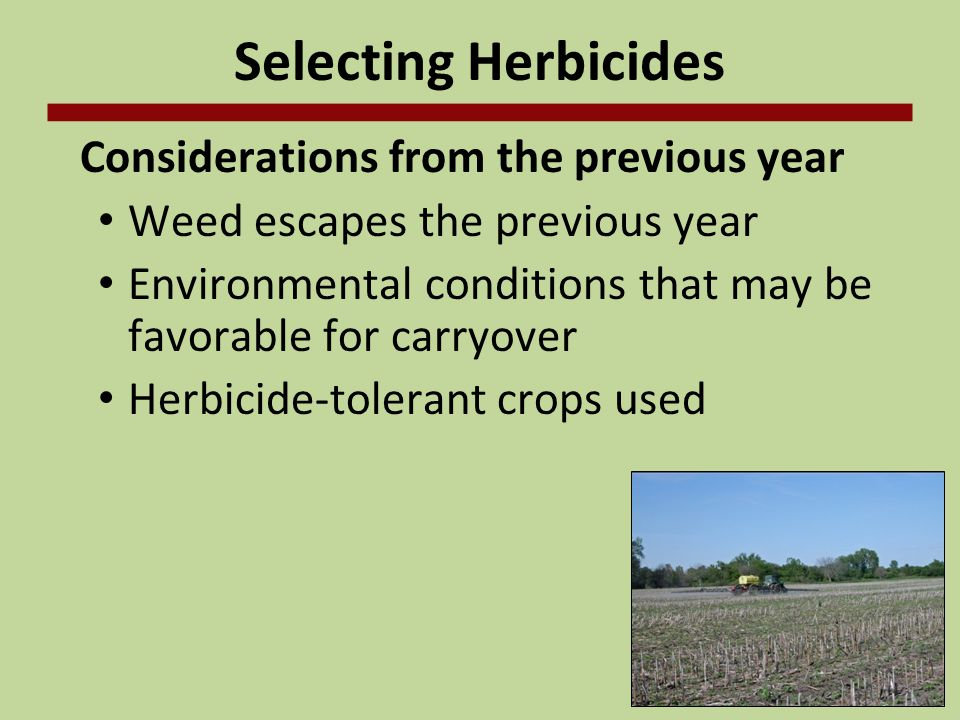 Selecting Herbicides Considerations from the previous year