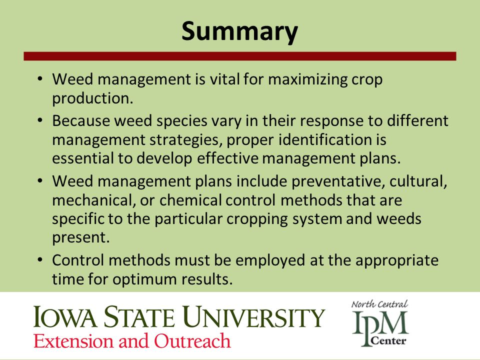 Summary Weed management is vital for maximizing crop production.