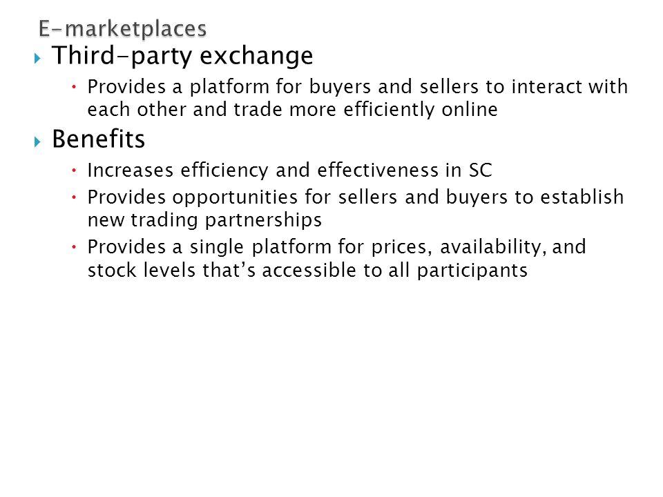 Third-party exchange Benefits E-marketplaces