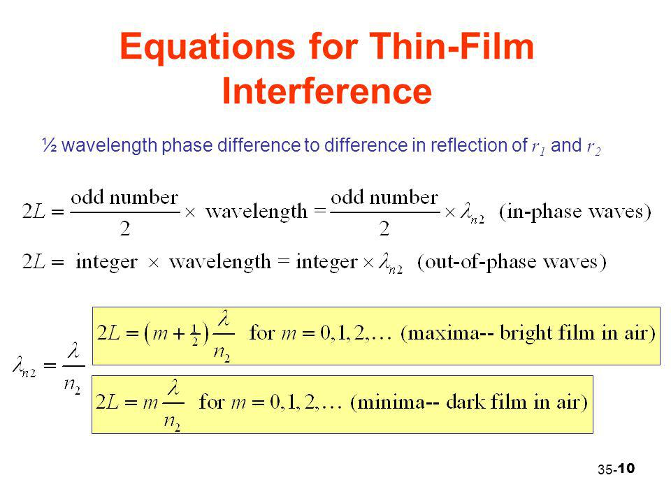 Equations for Thin-Film Interference