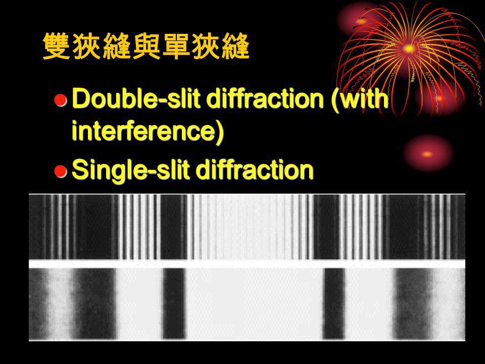 雙狹縫與單狹縫 Double-slit diffraction (with interference)