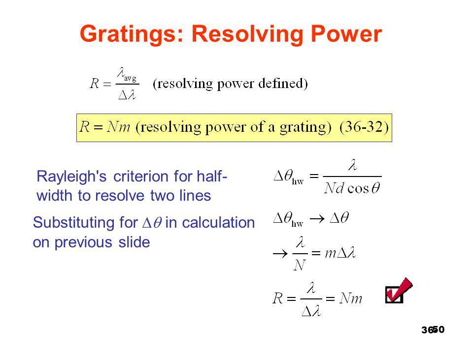 Gratings: Resolving Power