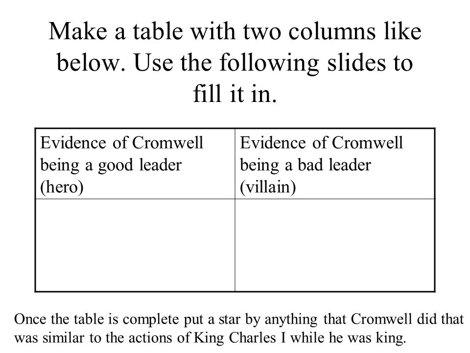 Make a table with two columns like below