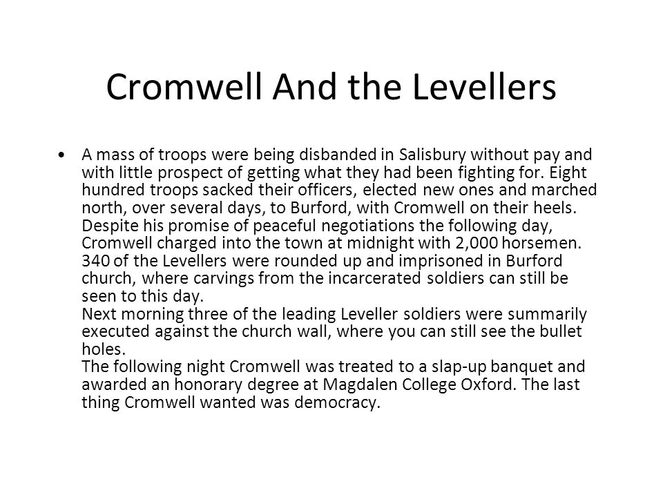 Cromwell And the Levellers