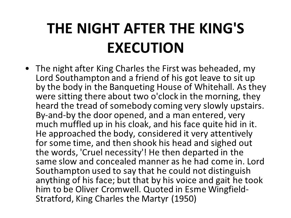 THE NIGHT AFTER THE KING S EXECUTION
