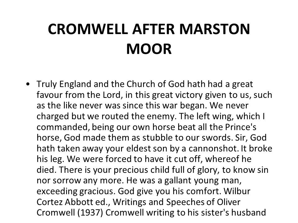 CROMWELL AFTER MARSTON MOOR