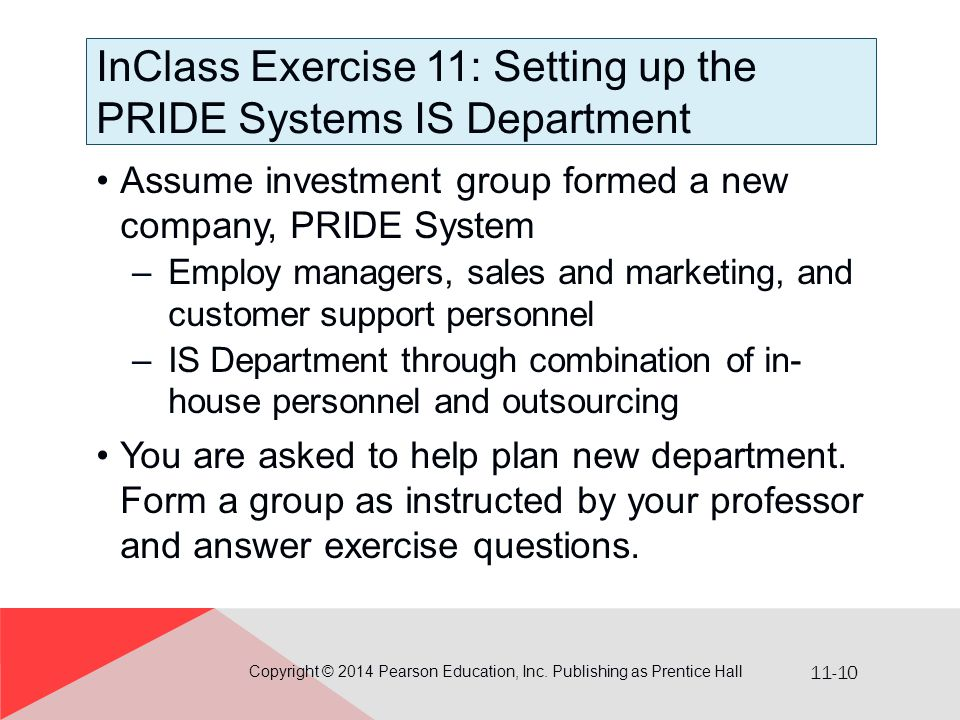 InClass Exercise 11: Setting up the PRIDE Systems IS Department