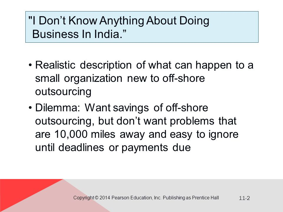 I Don't Know Anything About Doing Business In India.