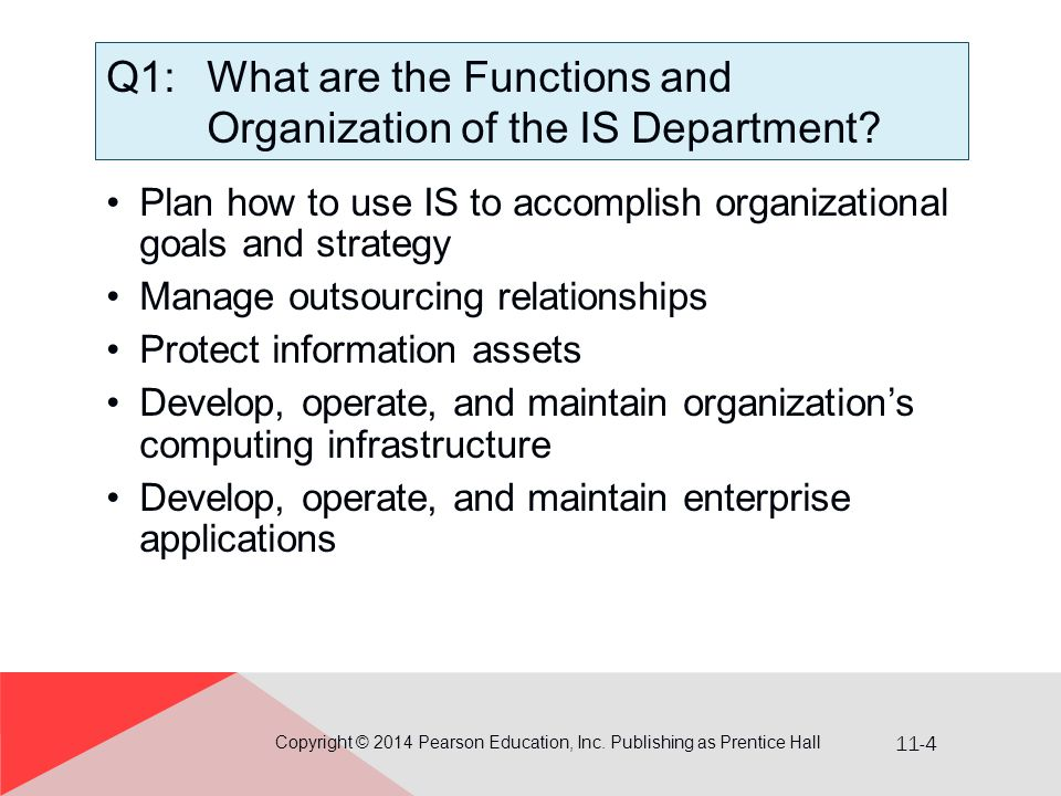 Q1: What are the Functions and Organization of the IS Department