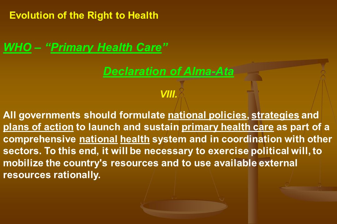 the alma ata declaration Ever since the who/unicef alma-ata declaration in 1978, strengthening the  primary health care has increasingly been considered to be of.