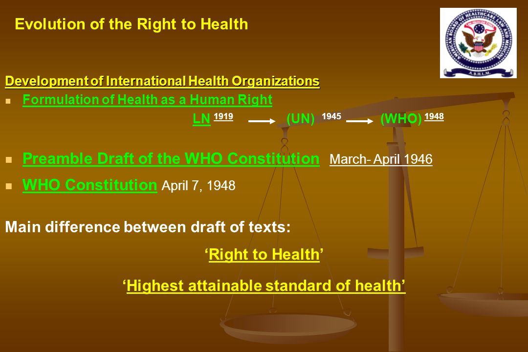 'Highest attainable standard of health'