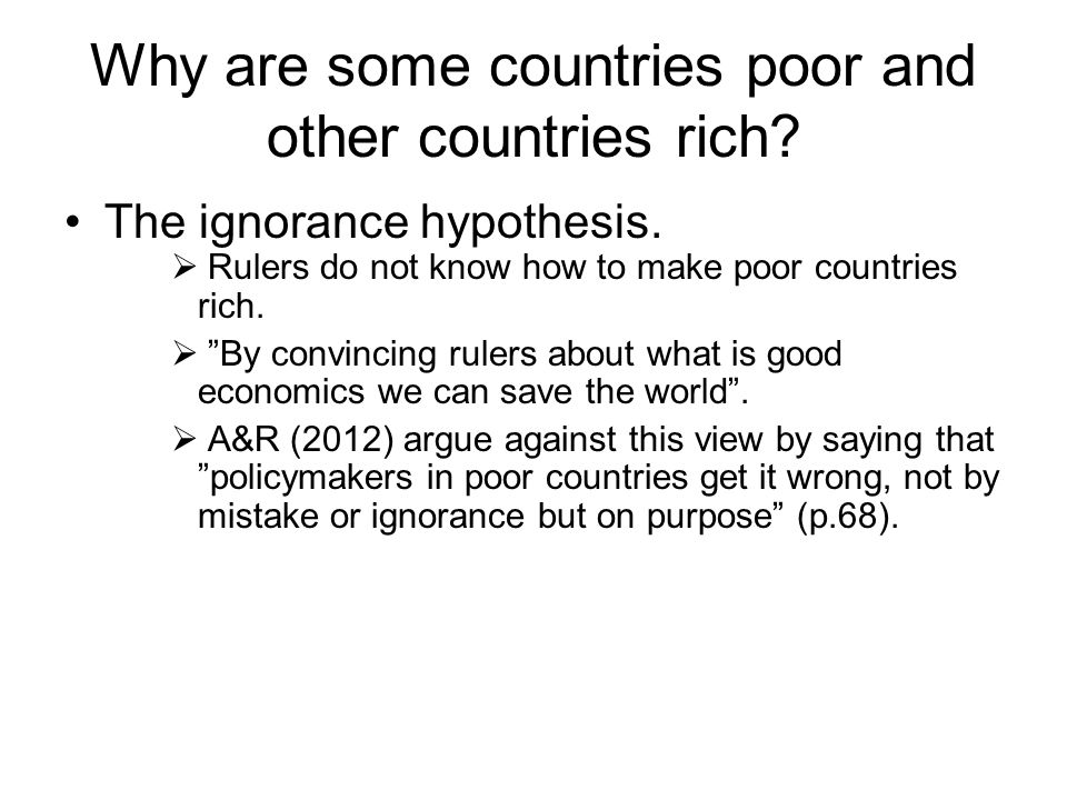 Why are some countries poor and other countries rich