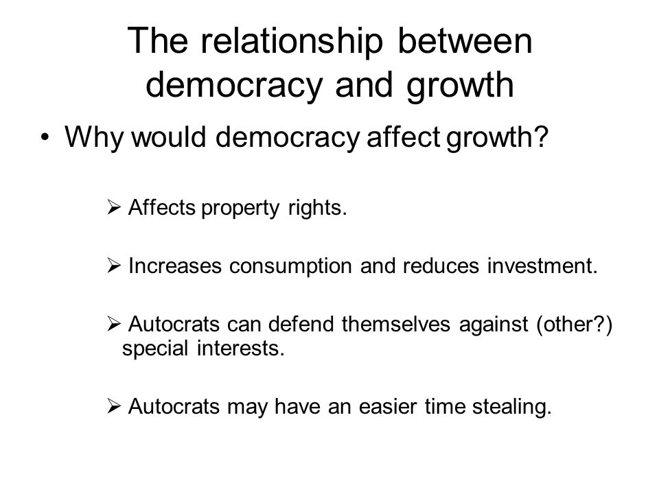 The relationship between democracy and growth