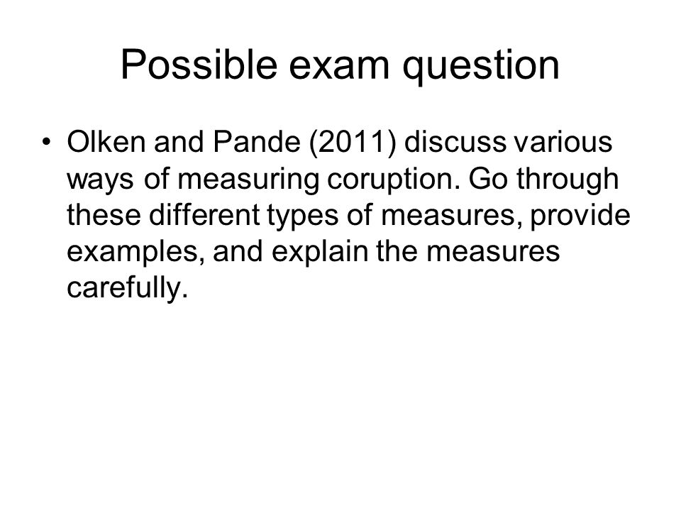 Possible exam question