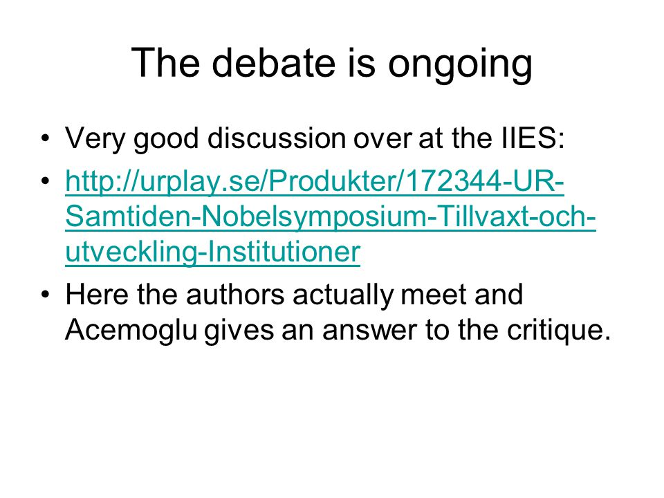 The debate is ongoing Very good discussion over at the IIES: