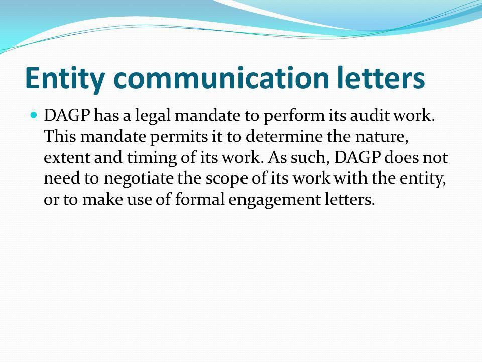 Entity communication letters