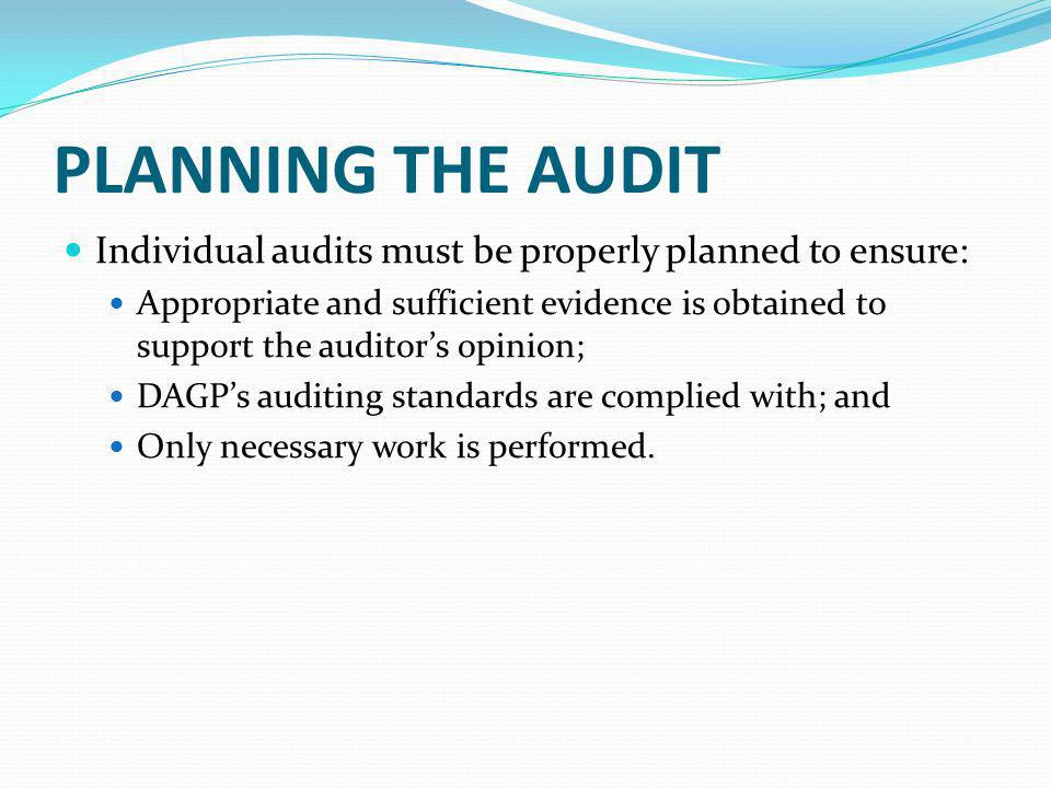 Planning The Audit Individual audits must be properly planned to ensure: