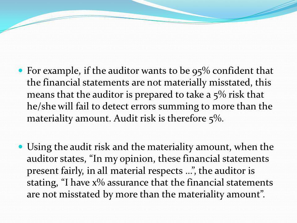 For example, if the auditor wants to be 95% confident that the financial statements are not materially misstated, this means that the auditor is prepared to take a 5% risk that he/she will fail to detect errors summing to more than the materiality amount. Audit risk is therefore 5%.