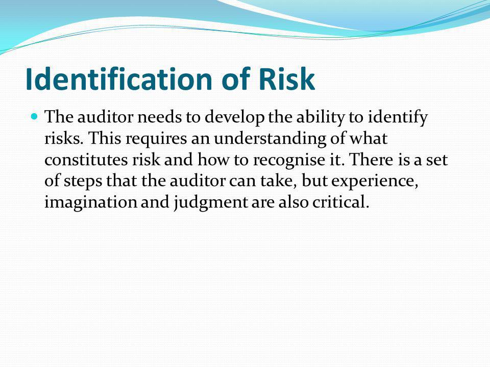 Identification of Risk