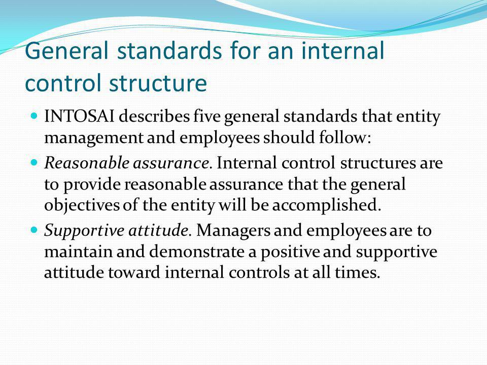 General standards for an internal control structure