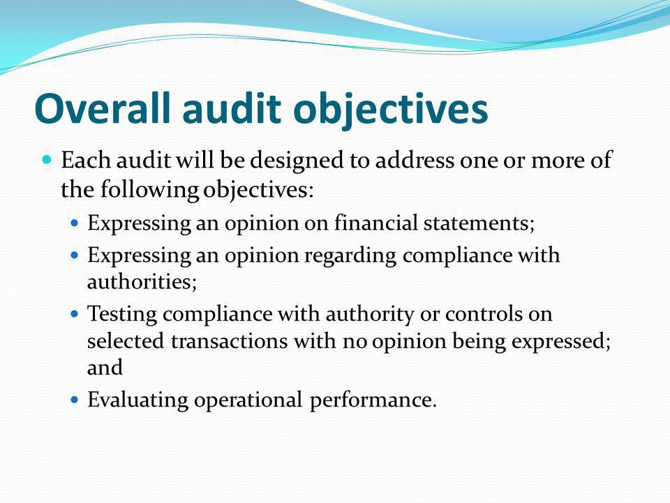 Overall audit objectives