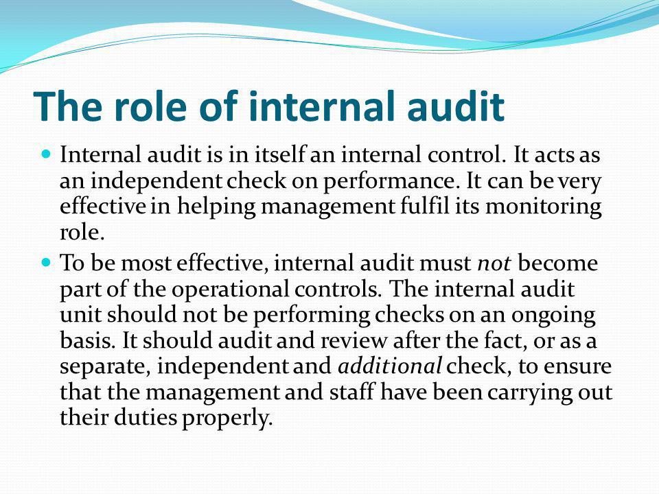 The role of internal audit