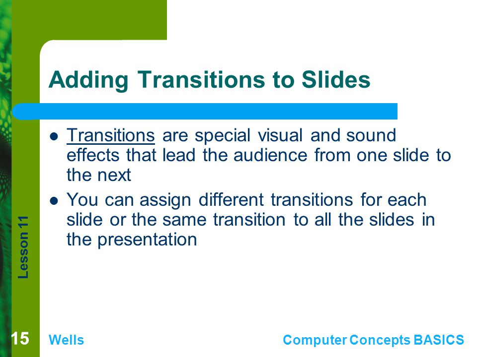 Adding Transitions to Slides