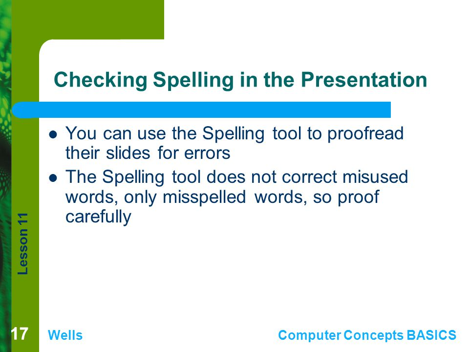 Checking Spelling in the Presentation