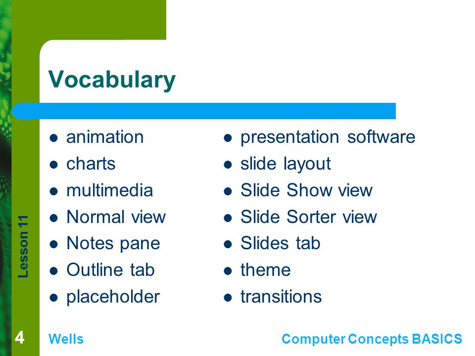 Vocabulary animation charts multimedia Normal view Notes pane
