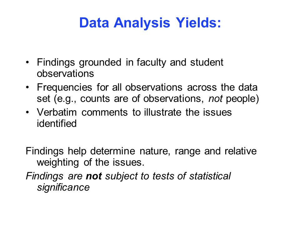 Data Analysis Yields: Findings grounded in faculty and student observations.