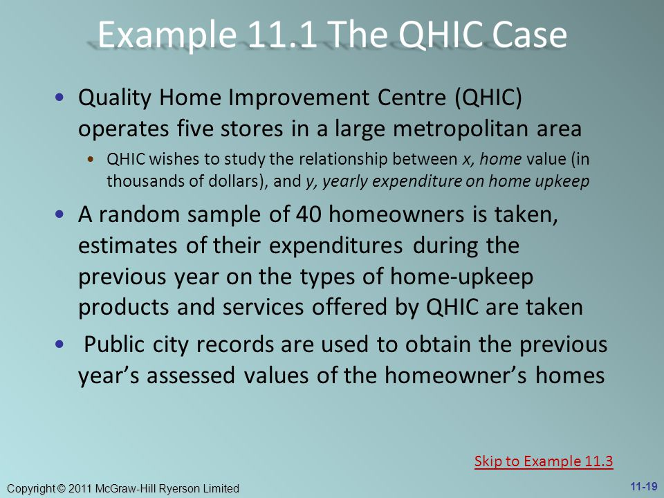 Example 11.1 The QHIC Case Quality Home Improvement Centre (QHIC) operates five stores in a large metropolitan area.