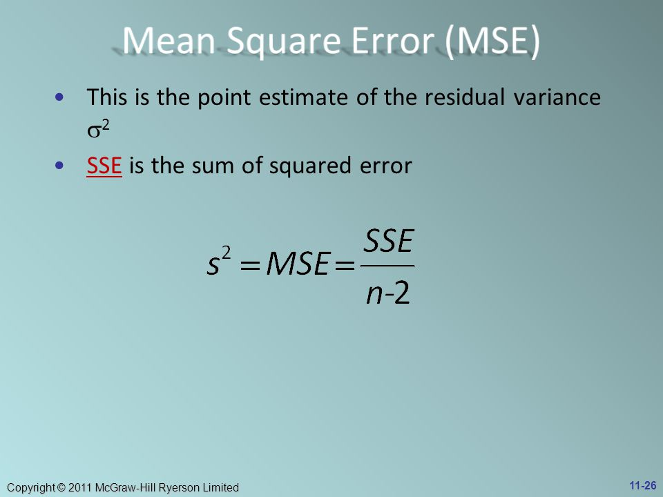 Mean Square Error (MSE)